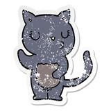 distressed sticker of a cute cartoon cat