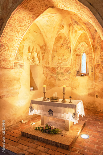 Interior of the medieval Velemér church	 - 254249541