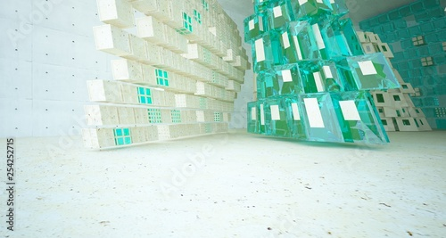 Leinwanddruck Bild Abstract  concrete and coquina parametric interior  with window. 3D illustration and rendering.