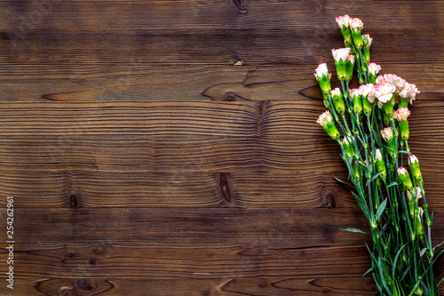 Delicate spring flowers. Small pink carnation on dark wooden background top view copy space