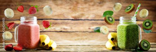 Strawberry banana and spinach banana smoothies - 254264105