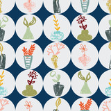 Pastel hand-drawn vases with flowers on grey and blue background seamless repeat.