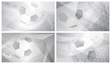 Fototapeta Fototapety sport - Set of four football or soccer abstract backgrounds with big ball in gray colors © Olga Moonlight