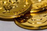 Gold Irish coin close up