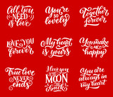 Love quotes vector lettering calligraphy