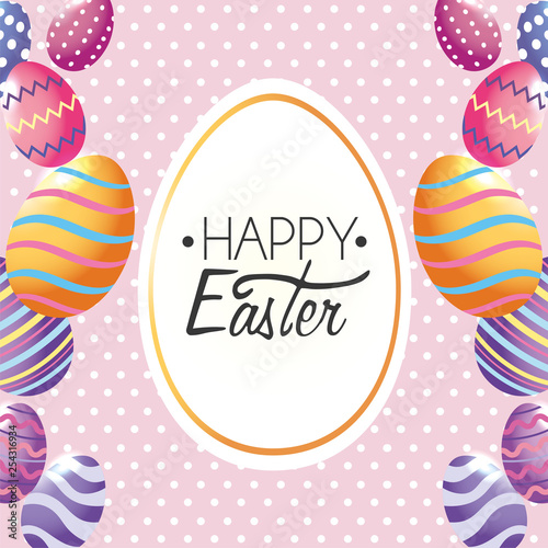 Happy Easter, label decoration with easter eggs to event - 254316934