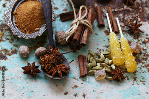 set of spices on iron old background
