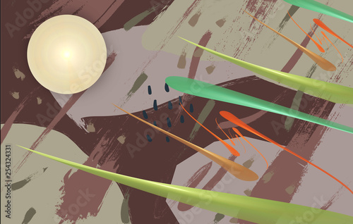 Fancy abstract drawing on a light background. - 254324331