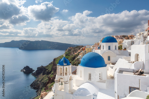 Santorini Island. Blue and white domed churches on Santorini Greek Island, Oia town, Santorini, Greece. - 254326306