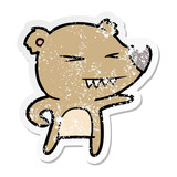 distressed sticker of a angry bear cartoon