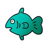 gradient cartoon doodle of a marine fish