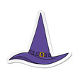 sticker of a cartoon witch hat
