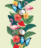 flamingos with butterflies and tropical plants with flowers