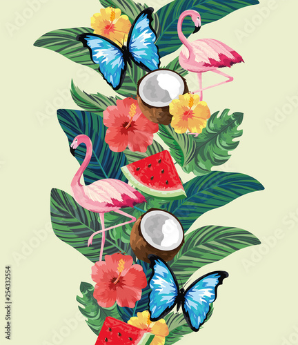 flamingos with butterflies and tropical plants with flowers - 254332554