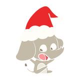 cute flat color illustration of a elephant wearing santa hat