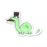 retro distressed sticker of a cartoon posh dinosaur