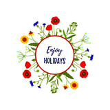 Floral frame of wild flowers isolated on white. Enjoy holidays design Vector illustration. Space for text