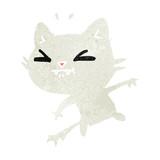 retro cartoon of cute kawaii cat