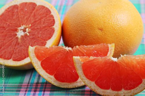 obraz PCV Bright pink grapefruit