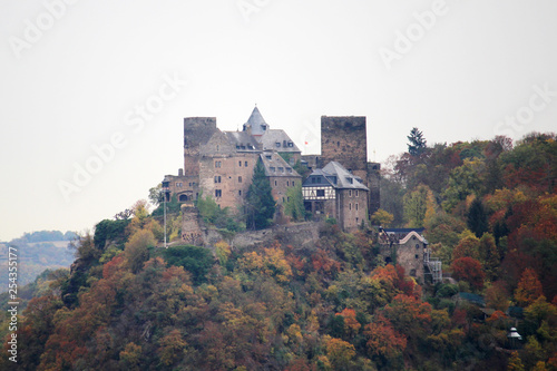 Castle Schoenburg in Oberwesel town in the Rhine valley, Germany