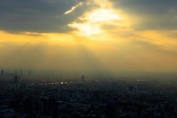 Bangkok city with the express way and the light of sun © nitimongkolchai