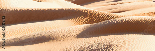Panoramic abstract landscape in the Sand dunes desert of Sahara, South Tunisia