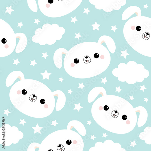 obraz PCV Seamless Pattern. White dog face. Cloud star in the sky. Cute cartoon kawaii funny smiling baby character. Wrapping paper, textile template. Nursery decoration. Blue background. Flat design