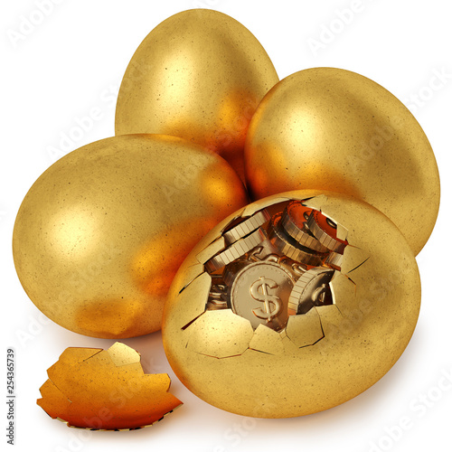 Leinwanddruck Bild broken golden egg