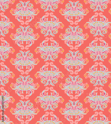 Damascus pattern in coral colors - 254372997