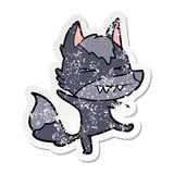 distressed sticker of a angry wolf cartoon