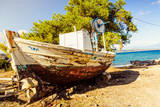 Old boat on beach sea shore
