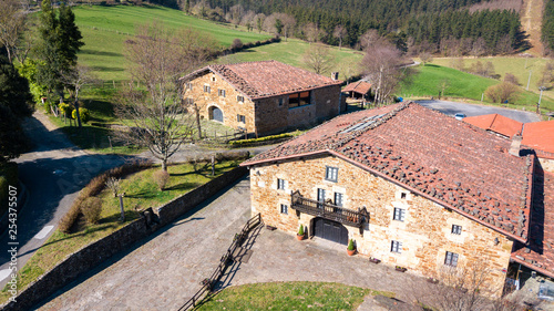 traditional house of basque country contryside, Spain - 254375507