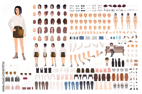 Stylish young woman creation set or animation kit. Bundle of body parts, trendy clothes, hairstyles, facial expressions. Female cartoon character. Front, side, back views. Flat vector illustration.