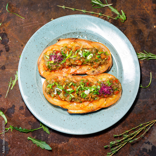 bruschetta with eggplants and tomatoes - 254385505