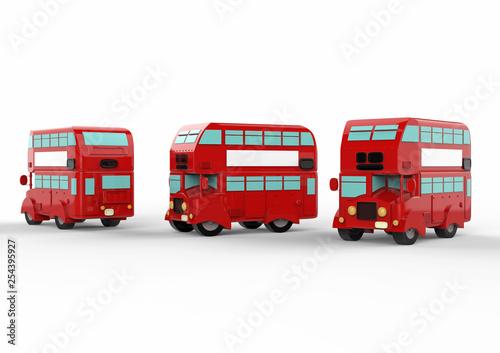 London doubledecker red bus on white background. 3d illustration. © Yevhen