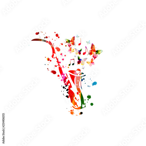 Colorful saxophone with music notes isolated vector illustration design. Music background. Music instrument poster with music notes, festival poster, live concert events, party flyer © abstract