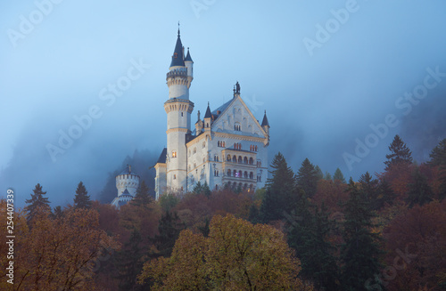 Neuschwanstein Castle with Autumn colors, Fussen, Germany