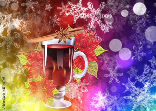 Mulled wine with poinsettia background © AnnaPa