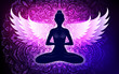 Meditating woman with wings in lotus pose. Yoga illustration.