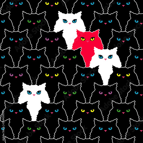 obraz PCV Seamless pattern with decorative Cats. Funny lovely Cats. Brushwork. Hand hatching. Doodle. Can be used for wallpaper, textile, invitation card, wrapping, web page background.