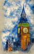 Watercolor painting of Big Ben at twilight witth lights making architecture glow in the coming darkness