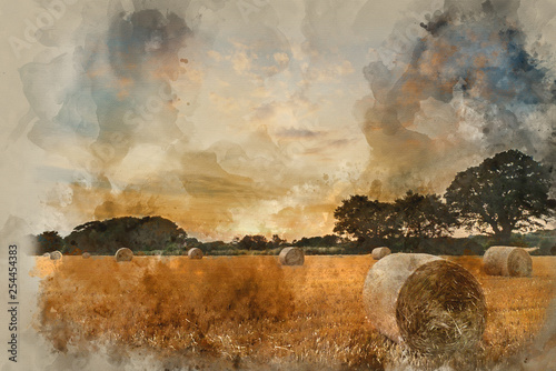 Watercolor painting of Rural landscape image of Summer sunset over field of hay bales