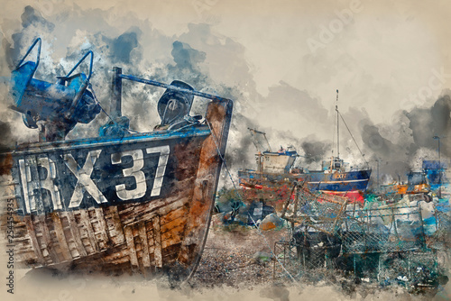 Watercolour painting of Fishing boats and equipment on Hastings beach.