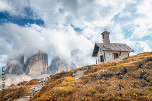 Small church in the Italian Alps - 254458771