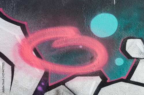 Graffiti pink oval stroke wall background - 254477935