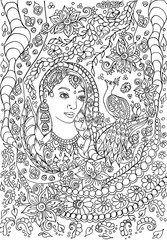 Indian woman adults coloring page book black and white outline ethnic ornament - Illustration