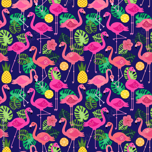 Seamless Vector Pattern with Flamingos and Other Summer Themed Elements - 254479904