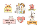 Cute pet labels with quotes isolated on white background. Pet lovers concept. Perfect for T-shirt prints, pet shops and design products for pets. Hand drawn illustration.