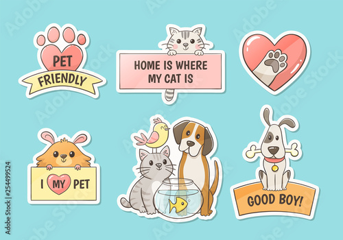 Cute pet stickers with quotes. Pet lovers concept. Hand drawn illustration. Perfect for T-shirt prints, pet shop logos and design products for pets.  - 254499524