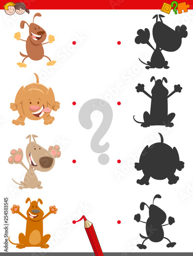 shadow game with cute cartoon dogs